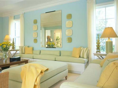 light blue aqua and yellow beachy living room
