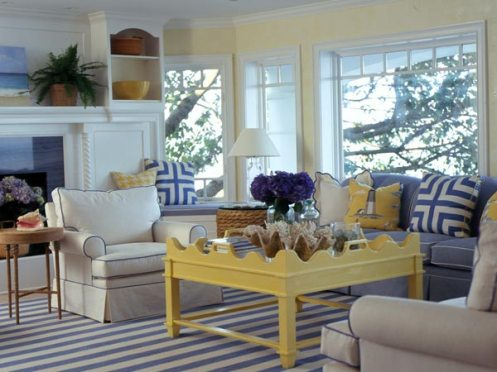 blue yellow white coastal living room yellow coffee table