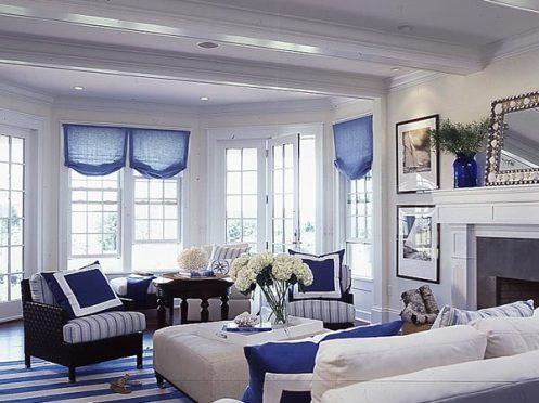 nautical interior, white and blue, living room lounge