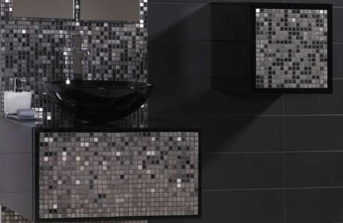 black and metallic silver mosaic tiles
