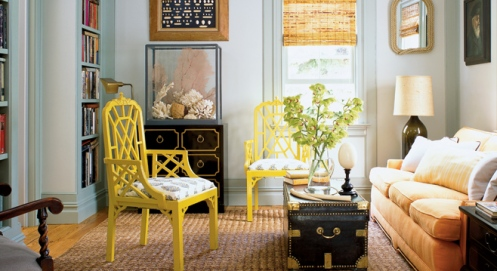modern funky living room yellow chair