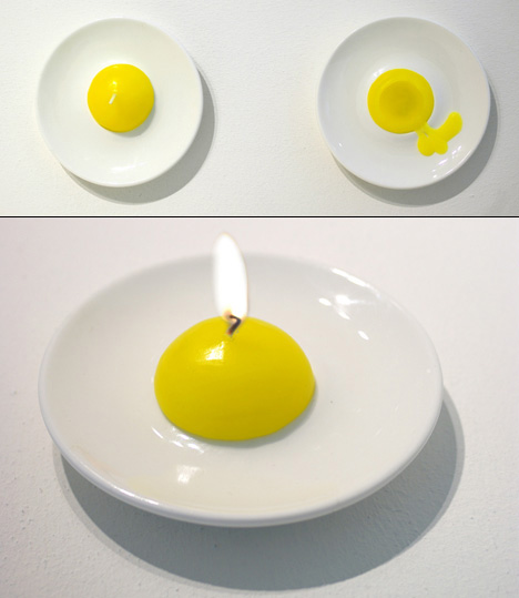 fried egg wax candle