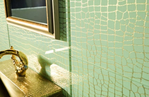 turquoise and gold bathroom tiles