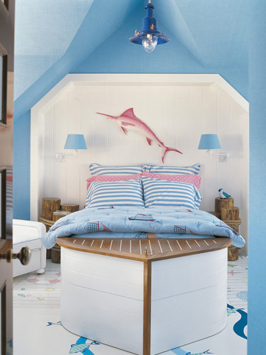 white blue pink coastal beachy nautical style bedroom boat bed