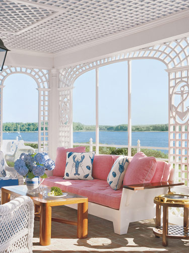 white and pink and blue coastal beachy style patio furniture