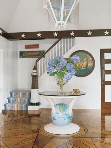 white and blue pastel beachy coastal style hall entry