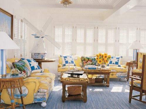 yellow blue white coastal style beachy living room lounge