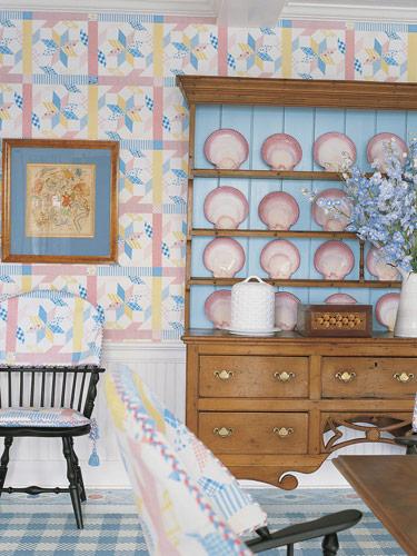 white blue pink pastel coastal style beachy dining room wallpaper
