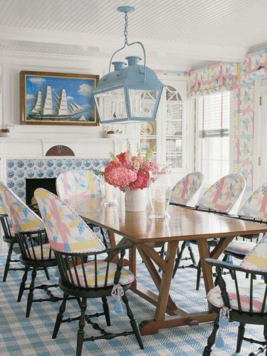 blue white pink pastel coastal style beachy dining room