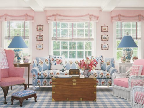 white pink and blue pastel caostal beachy style living room