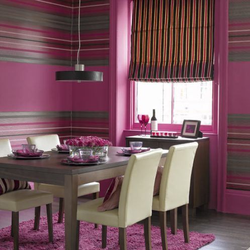 modern purple stripy dining room