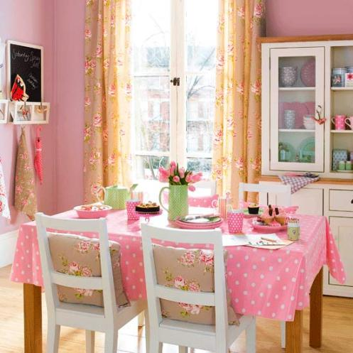 pink dining room area country style
