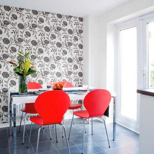 White black and red retro dining room floral pattern wall paper