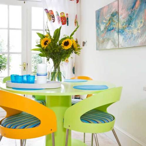 green orange blue turquoise white dining room