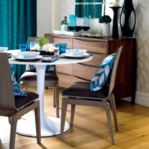 beige and blue retro modern dining room area