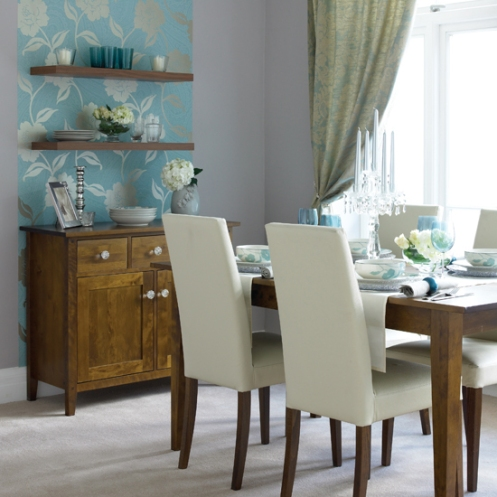 Blue and white dining room cool wallpaper effect