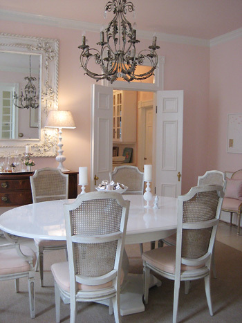 soft light pink and white dining room