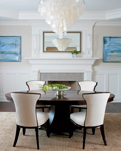 black and white posh home living room with sea shell chandelier