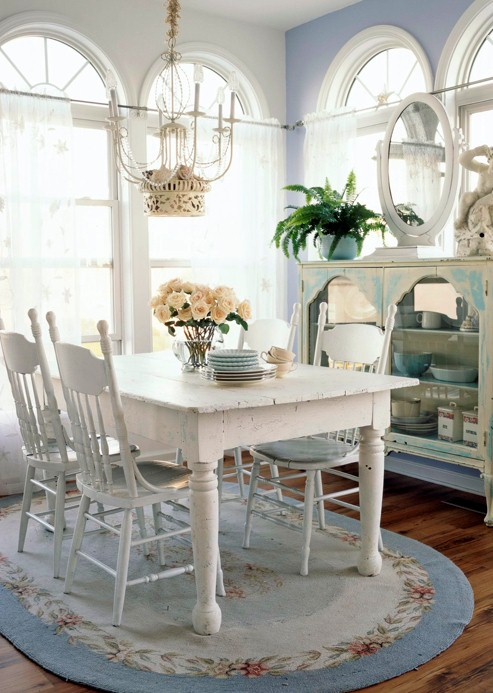 blue lilac white romantic country Diningroom