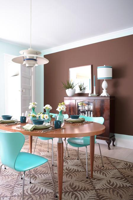 white, brown and turquoise dining room area