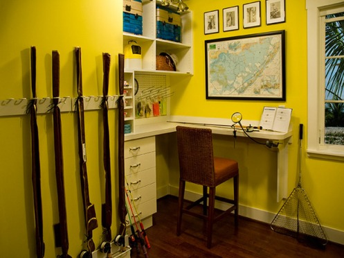 bright yellow fishing tool shed room