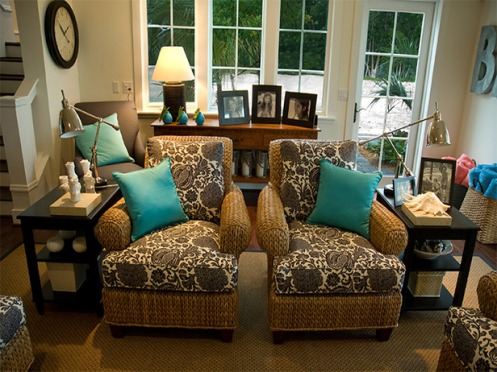 brown white and blue turquoise living room lounge seating area