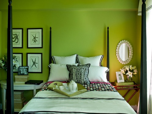 bright green and white beachy bedroom