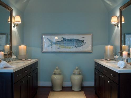 light blue white and dark wood master bathroom
