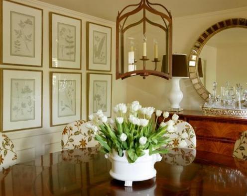 cream white green dining room lantern ceiling lamp round mirror