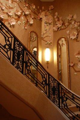 beige floral wall stairways