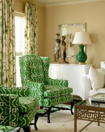 cream and green classic living room