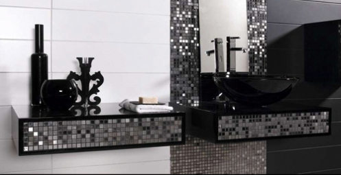 black white and silver bathroom