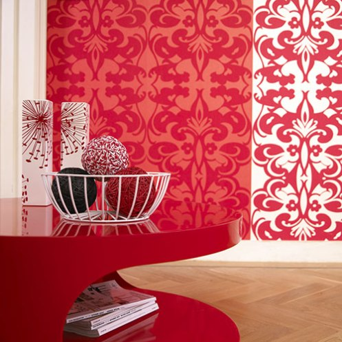 red and white wallpaper red shiny modern table and candles