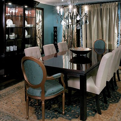 blue and beige brown dining room with chandelier modern