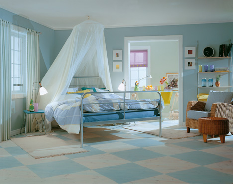 white aqua blue and yellow master bedroom modern