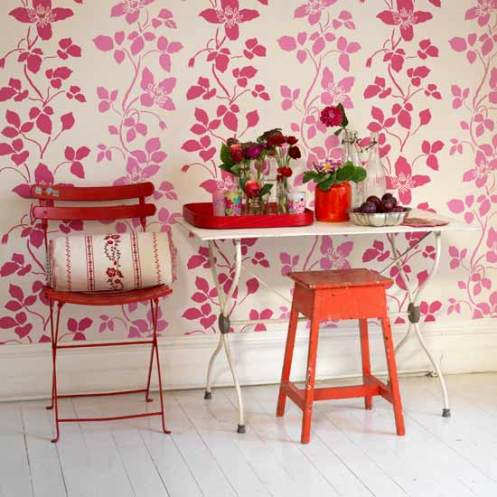 rosy red and pink floral wallpaper romantic country style hall entry