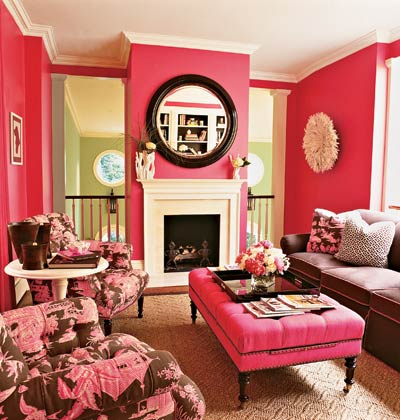 hot pink white black modern livingroom