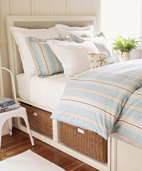white and blue beachy bedroom