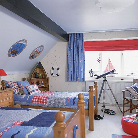 red white and blue kids nautical themed bedroom