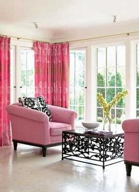 pink, black and white living room