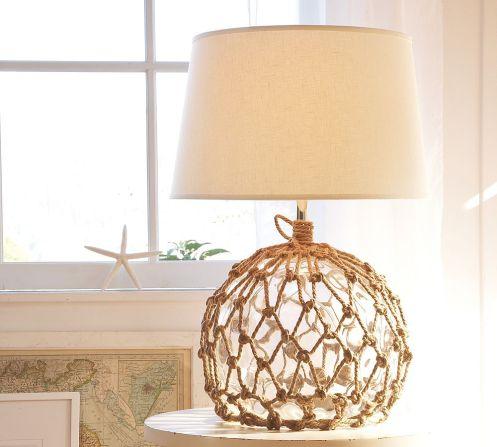 natural fiber fish net beachy table lamp