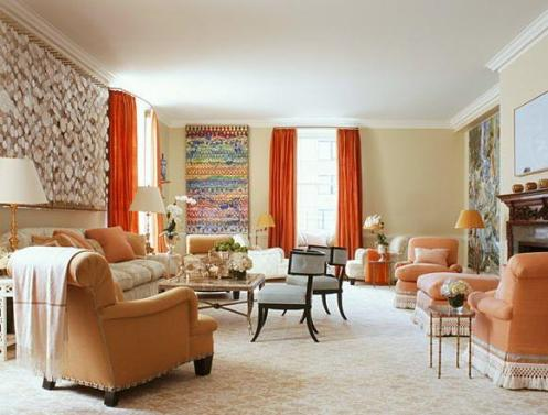 cream and choral red living room with seashell decor