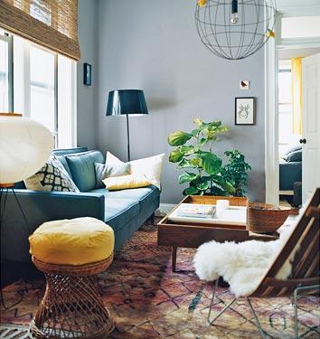 julianne moore blue aqua and yellow living room