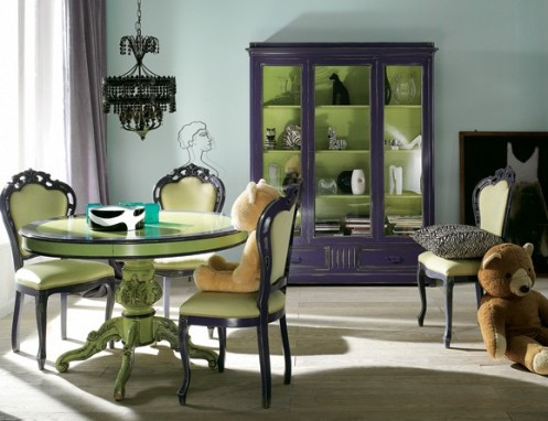powder blue, green and deep purple modern living room