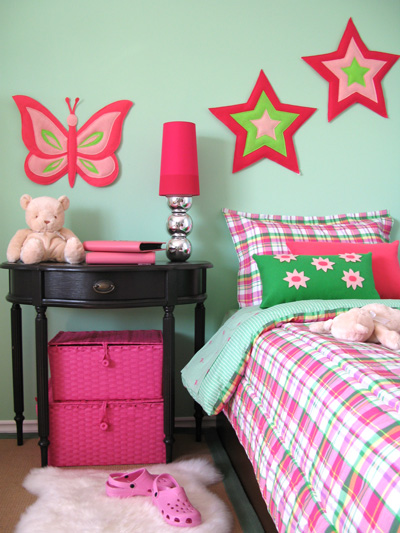 mint green and pink girls room star and butterfly felt decor