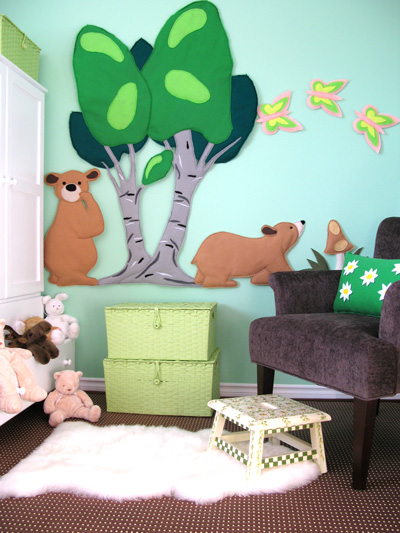 green and blue forest with bears nursery or kids room decor