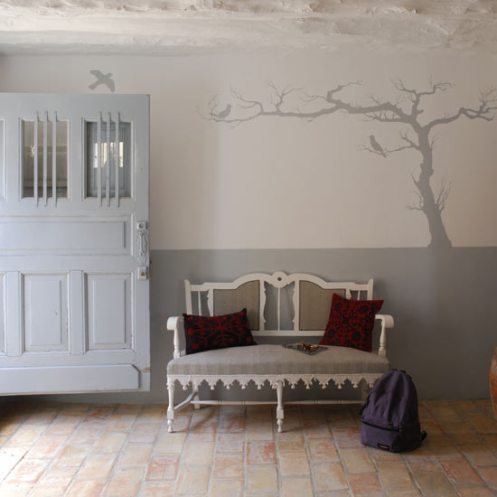 light powder baby blue and white country modern hall hallway entry