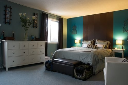 brown and blue headboard bedroom modern