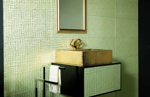 turquoise and gold gold sink and mirror
