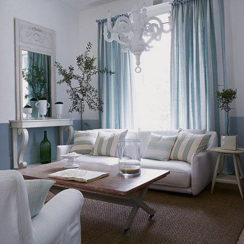 white classic living room blue and white